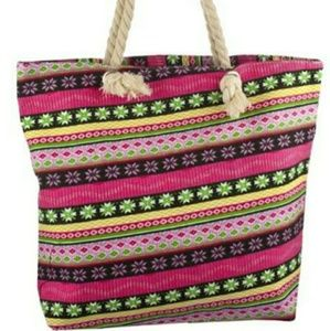 Aztec bag pink coral with rope strap